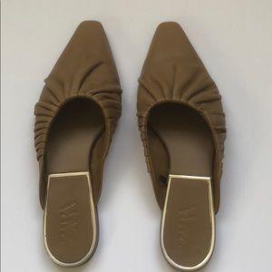Zara Leather Mule Slide Flats
